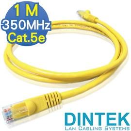 1M Cat.5e 350MHz UTP DINTEK超五類鍍金無遮蔽多股 線~鮮黃1米^