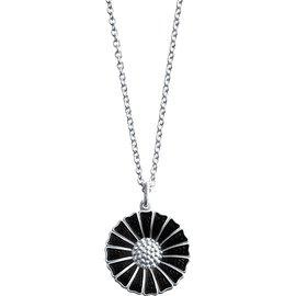 Georg Jensen喬治傑生 DAISY系列 純銀鍍銠鍊墜鑲嵌黑色琺瑯^(1.8cm^