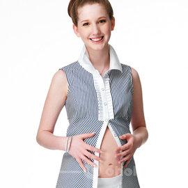 OL款無袖條紋立領襯衫 ~ohoh~mini 孕婦裝 ~OL款無袖條紋立領襯衫