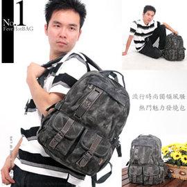 多口袋休閒丹寧後背包C145-41(運動背包.運動包.側背包.書包.休閒包.電腦包.潮包.推薦.哪裡買)