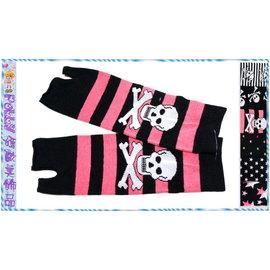 ~POLLY媽~ 骷髏星星愛心圖案條紋黑色針織棉^(棉襪 ^)露指手套長28cm^~6款