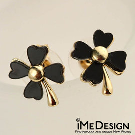 ~iMe Design~  愛心 幸運 四葉草 耳針 耳環