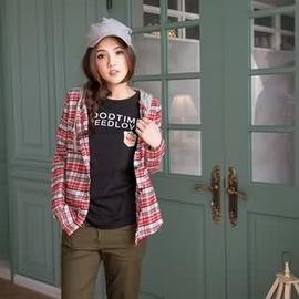 ~眼圈熊~I81隨性休閒風.格紋口袋拼接棉質連帽抽繩 長袖襯衫^(紅、藍XS~2L^)