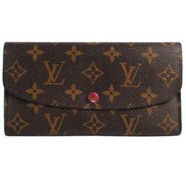 ~8.5成新~Louis Vuitton LV M60136 EMILIE 花紋扣式拉鍊零