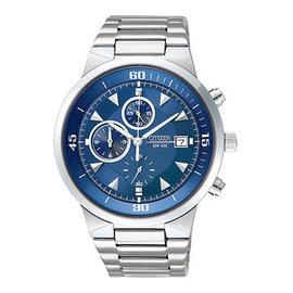 CITIZEN 帥氣耀眼三眼計時腕錶/41mm/藍