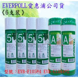 【淨水工廠】《免運費》《6支裝》《送餘氯測試液》EVERPOLL愛惠浦公司貨標準型10英吋一年份濾心EVB-F105*4/EVB-U100A*2