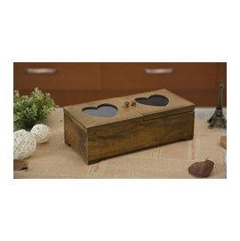~微加幸福雜貨小築~日式 愛心玻璃 兩格 實木 收納盒 桌面雜物收納 文具盒 簡易醫藥箱