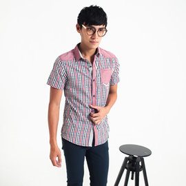 ~MAKER NET~潮流 口袋短袖格紋襯衫~共二色