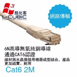 L~CUBIC Cat6 LAN Cable 傳統圓網線 白 2M