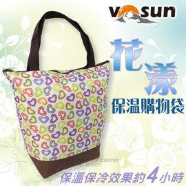 【VOSUN】花漾保溫保冷購物袋(直式).環保袋.手提袋.收納袋/內層防水設計.具保溫材質.保溫保冷效果約4小時/炫彩心形