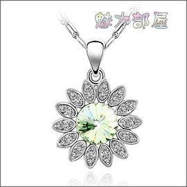 ~ ~ 魅力部屋 ~ ~ 奧地利水晶項鍊 ~向日葵 橄欖  10122402