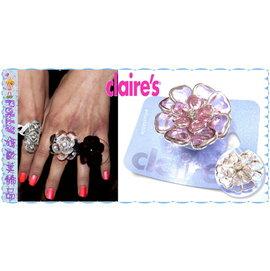 ~POLLY媽~ claire s抓鑽花芯銀色滾邊白色、粉紅色仿水晶透明壓克力大花朵戒指