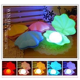 【Q禮品】A1895 貝殼LED小夜燈/USB充電式檯燈/7彩LED小夜燈/情人節禮物/夜明珠珍珠貝殼燈