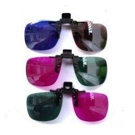 3d眼鏡立體電影 專用樹脂 近視眼鏡/立體眼鏡掛夾/夾具 (紅綠/綠紅/黃藍)