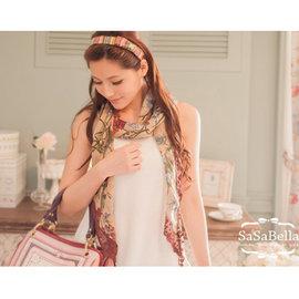 SaSa Bella 戀戀首爾~RF313099~韓國香氛百搭花朵綻放蕾絲滾邊垂吊印花 圍