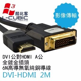 L~CUBIC DVI轉HDMI轉接線 2M