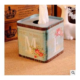 ^~微加幸福雜貨小築^~ZAKKA鄉村風 田園風 鐵皮 面紙盒 紙巾盒 收納盒 小垃圾桶