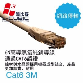 L~CUBIC Cat6 LAN Cable 傳統圓網線 紅 3M