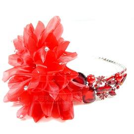 ~天天美容美髮材料~ 胭脂新娘 頭花髮鑽飾 IC1754 ^(大紅色^) ^~85262^
