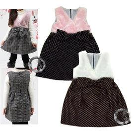 童衣圓~AG71貴氣公主風~ 厚綿 毛絨 氣質 優雅 洋裝 背心裙 娃娃裝^~年節 喜慶^