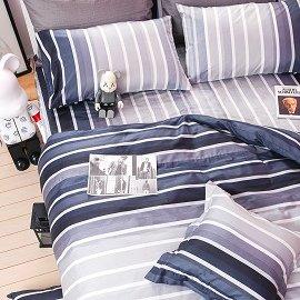 ~OLIVIA ~DR703 城市藍調  6X6.2尺 加大床包鋪棉冬夏兩用被套組 都會簡