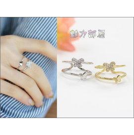 ^~ ^~ 魅力部屋 ^~ ^~ 韓國 ~ 亮麗蝴蝶水鑽雙環戒指35389