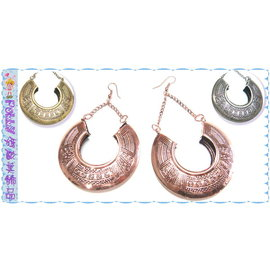 ~POLLY媽~ 民族風圖騰刻紋玫瑰金、古銅、古銀金屬立體大馬蹄形垂墜耳環