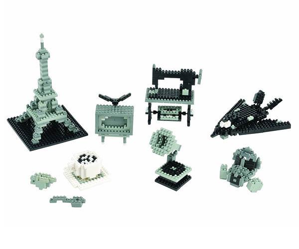 可拼凑成艾菲尔铁塔,电视机,防毒面具,隐形战斗机,留声机,缝纫机和