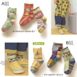 ^~韓風童品^~ ^(3雙 組^)男女童貓咪 棉防滑襪 卡通寶寶襪 嬰兒襪 點膠防滑襪 兒