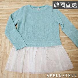 ~專區88元起~AppleTree日韓~韓國製 圓領拼接紗裙下襬上衣 綠色~403014~