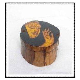 東南亞風格異國風情 藝 木雕彩繪佛面收納首飾盒煙灰缸