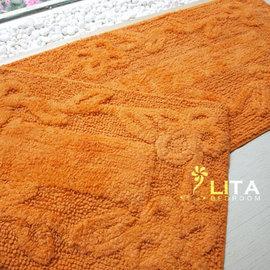 ^( 品^)^~麗塔LITA^~ ~花朵床前墊^(45x120cm^)~~ 橘色