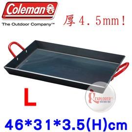 探險家戶外用品㊣CM-9410美國Coleman 長形黑鐵煎鍋 (46*31cm) 雙口爐適用煎盤 烤盤 鐵板燒