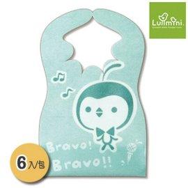 【紫貝殼】 『HE13-2』Lullmini Floret 嬰幼童拋棄型圍兜 - 樂企鵝 (6入)  台灣設計/台灣製造【吸水不織布+PE防水膜.髒汙不滲透】