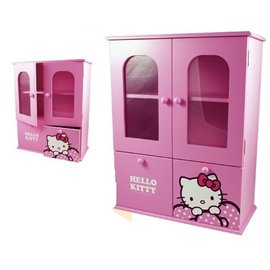 ~4165本通GIFT41市伊瓏屋~ Hello Kitty 凱蒂貓雙抽雙門收納櫃KT~0