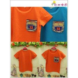 ♫彩虹樂園♫^~ 813336^~ 橘色口袋條紋32短袖T恤^~^(5^~15^)♫