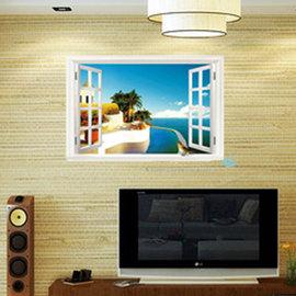 開一扇窗~浪漫渡假小島 第三代可移除牆貼~可重覆撕貼! 臥室飯廳客廳電視牆沙發背景/壁貼/壁紙牆紙