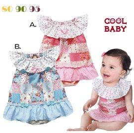 ^~^~阿布 ^~^~~BF547~COOLBABY荷花邊拼布裙式連身衣 包屁式小洋裝 裙