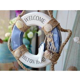 zakka雜貨 Vintage 地中海 藍白色海洋風 救生圈 光臨掛飾 WELCOME裝飾