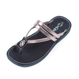 噗鈴^~9358女款平底晶鑽閃耀夾腳拖鞋 羅馬鞋款 2014 春夏 夾腳涼鞋 色香檳色 平
