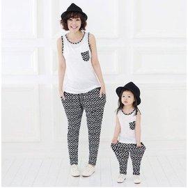 黑白菱格紋無袖T哈倫褲親子套裝母女裝女裝下單區