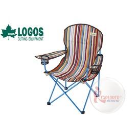 探險家戶外用品㊣NO.73170016 日本品牌LOGOS 條紋椅 雙置杯架 導演椅 野營椅 舒適折疊椅 休閒椅