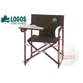 探險家戶外用品㊣NO.73171001 日本品牌LOGOS Premium 金牌 極太平面鋁合金導演椅 (附桌) 野營椅折疊椅休閒椅