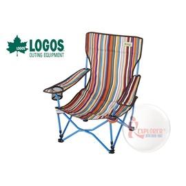 探險家戶外用品㊣NO.73173014 日本品牌LOGOS 條紋高背休閒椅含椅背置物袋 導演椅 野營椅 舒適折疊椅 休閒椅
