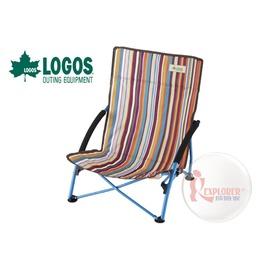 探險家戶外用品㊣NO.73173016 日本品牌LOGOS 條紋懶洋洋休閒椅含椅背置物袋 野營椅 舒適折疊椅 休閒椅