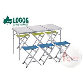 探險家戶外用品㊣NO.73183003 日本品牌LOGOS 3FD 122*62cm一桌六椅 摺疊桌/折疊桌椅組/摺合桌/折合桌