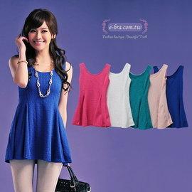 ~ 依波拉  ~ ~ 專區^~黃小姐^~小香風^~立體壓紋無袖背心裙式上衣^~藍色