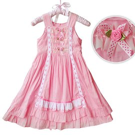 ~貝貝樂SHOW~零碼 ^~女大童典雅無袖蕾絲邊雙層蛋糕公主洋裝裙^~