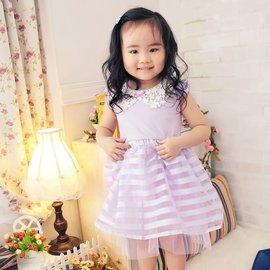 6045020 中大童^~蕾絲邊清秀佳人紫色夢幻小洋裝連身裙^~7~17 ~朵蕾咪Do R