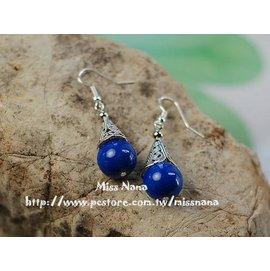 ~開運飾品~ ~耳環耳釘~鏤空晶石耳鉤(耳環可改夾式)(藍)